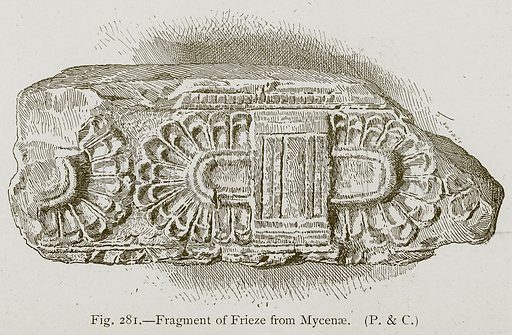 Fragment of Frieze from Mycenae. Illustration for Historic Ornament by James Ward (Chapman and Hall, 1897).