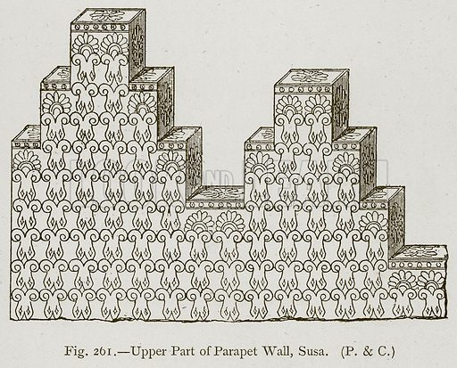 Upper Part of Parapet Wall, Susa. Illustration for Historic Ornament by James Ward (Chapman and Hall, 1897).