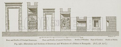 Elevations and Sections of Doorways and Windows of a Palace at Persepolis. Face and Profile of Principal Doorways. Face and Profile of Lateral Doorways. Profile of Window. Face of Cornice. Profile of Niche. Illustration for Historic Ornament by James Ward (Chapman and Hall, 1897).