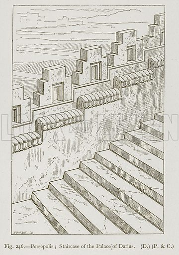 Persepolis; Staircase of the Palace of Darius. Illustration for Historic Ornament by James Ward (Chapman and Hall, 1897).