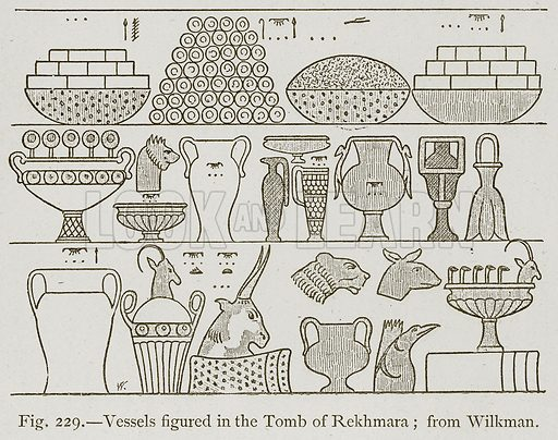 Vessels Figured in the Tomb of Rekhmara; from Wilkman. Illustration for Historic Ornament by James Ward (Chapman and Hall, 1897).
