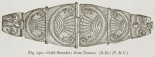 Gold Bracelet; from Tharros. Illustration for Historic Ornament by James Ward (Chapman and Hall, 1897).