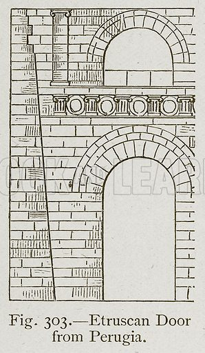 Etruscan Door from Perugia. Illustration for Historic Ornament by James Ward (Chapman and Hall, 1897).