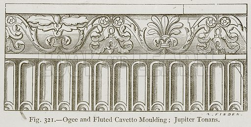 Ogee and Fluted Cavetto Moulding; Jupiter Tonans. Illustration for Historic Ornament by James Ward (Chapman and Hall, 1897).