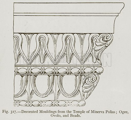 Decorated Moulding from the Temple of Minerva Polias; Ogee, Ovolo, and Beads. Illustration for Historic Ornament by James Ward (Chapman and Hall, 1897).