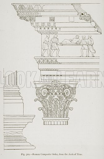 Roman Composite Order, from the Arch of Titus. Illustration for Historic Ornament by James Ward (Chapman and Hall, 1897).