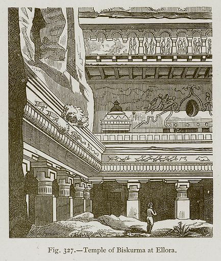 Temple of Biskurma at Ellora. Illustration for Historic Ornament by James Ward (Chapman and Hall, 1897).