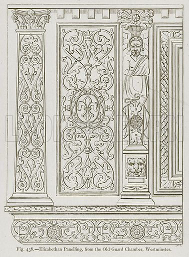Elizabethan Panelling, from the Old Guard Chamber, Westminster. Illustration for Historic Ornament by James Ward (Chapman and Hall, 1897).