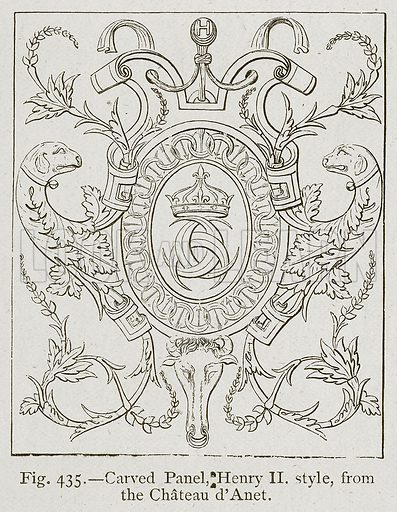 Carved Panel, Henry II Style, from the Chateau d'Anet. Illustration for Historic Ornament by James Ward (Chapman and Hall, 1897).