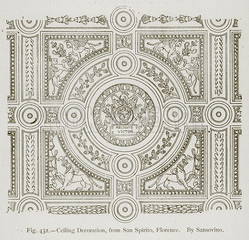 Ceiling Decoration, from San Spirito, Florence. By Sansovino. Illustration for Historic Ornament by James Ward (Chapman and Hall, 1897).