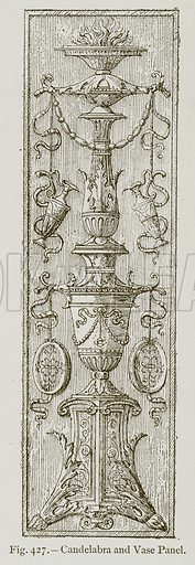 Candelabra and Vase Panel. Illustration for Historic Ornament by James Ward (Chapman and Hall, 1897).