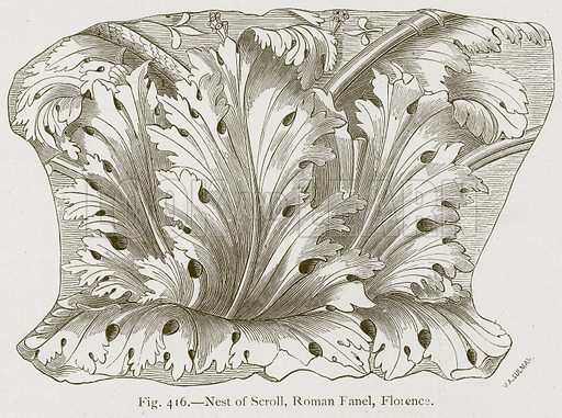 Nest of Scroll, Roman Fanel, Florence. Illustration for Historic Ornament by James Ward (Chapman and Hall, 1897).