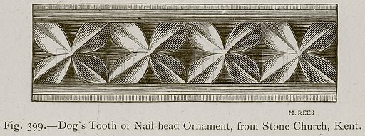 Dog's Tooth or Nail-Head Ornament, from Stone Church, Kent. Illustration for Historic Ornament by James Ward (Chapman and Hall, 1897).
