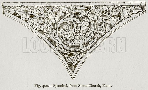 Spandrel, from Stone Church, Kent. Illustration for Historic Ornament by James Ward (Chapman and Hall, 1897).