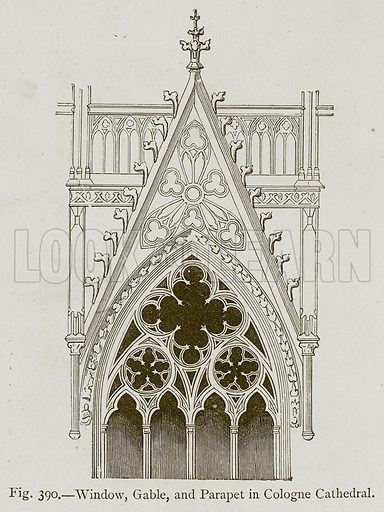 Window, Gable, and Parapet in Cologne Cathedral. Illustration for Historic Ornament by James Ward (Chapman and Hall, 1897).