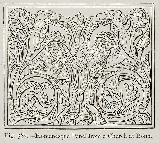 Romanesque Panel from a Church at Bonn. Illustration for Historic Ornament by James Ward (Chapman and Hall, 1897).