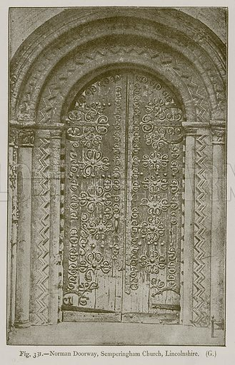 Norman Doorway, Semperingham Church, Lincolnshire. Illustration for Historic Ornament by James Ward (Chapman and Hall, 1897).