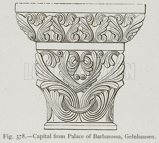 Capital from Palace of Barbarossa, Gelnhausen. Illustration for Historic Ornament by James Ward (Chapman and Hall, 1897).