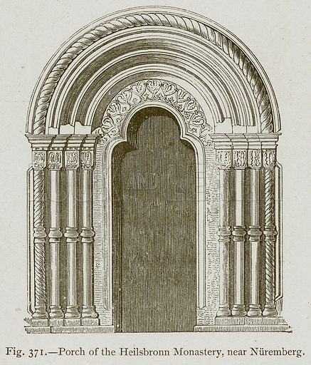Porch of the Heilsbronn Monastery, near Nuremberg. Illustration for Historic Ornament by James Ward (Chapman and Hall, 1897).