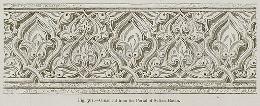 Ornament from the Portal of Sultan Hasan. Illustration for Historic Ornament by James Ward (Chapman and Hall, 1897).