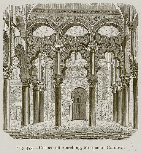 Cusped Inter-Arching, Mosque of Cordova. Illustration for Historic Ornament by James Ward (Chapman and Hall, 1897).