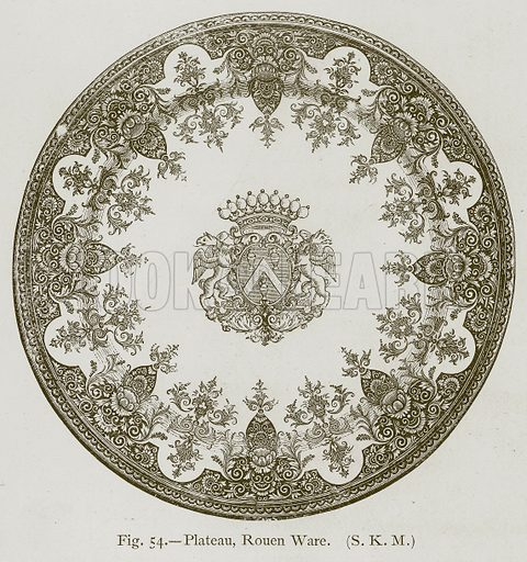 Plateau, Rouen Ware. Illustration for Historic Ornament by James Ward (Chapman and Hall, 1897).