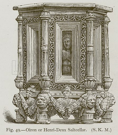 Oiron or Henri-Deux Saltcellar. Illustration for Historic Ornament by James Ward (Chapman and Hall, 1897).