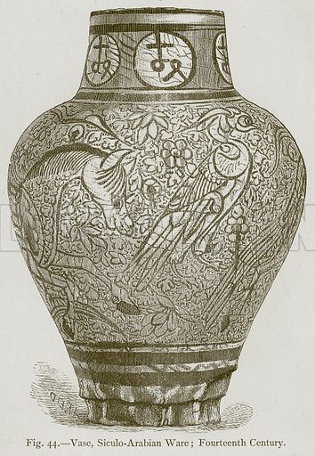 Vase, Siculo-Arabian Ware; Fourteenth Century. Illustration for Historic Ornament by James Ward (Chapman and Hall, 1897).