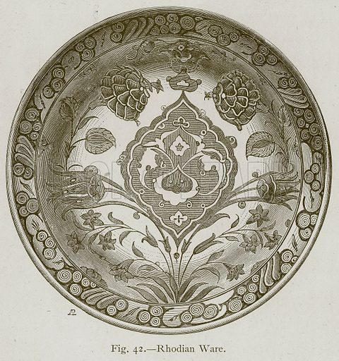 Rhodian Ware. Illustration for Historic Ornament by James Ward (Chapman and Hall, 1897).