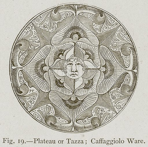 Plateau or Tazza; Caffaggiolo Ware. Illustration for Historic Ornament by James Ward (Chapman and Hall, 1897).