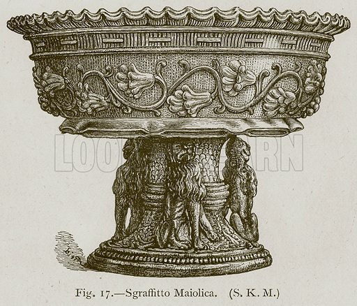 Sgraffitto Maiolica. Illustration for Historic Ornament by James Ward (Chapman and Hall, 1897).