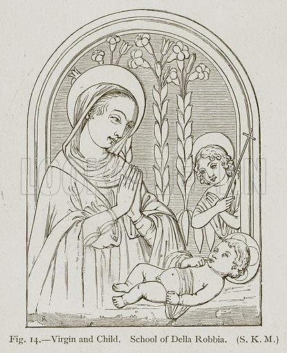 Virgin and Child. School of Della Robbia. Illustration for Historic Ornament by James Ward (Chapman and Hall, 1897).