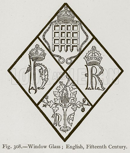 Window Glass; English, Fifteenth Century. Illustration for Historic Ornament by James Ward (Chapman and Hall, 1897).