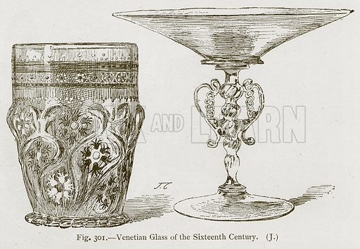 Venetian Glass of the Sixteenth Century. Illustration for Historic Ornament by James Ward (Chapman and Hall, 1897).
