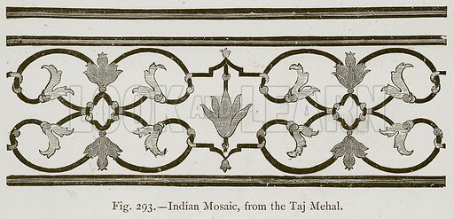 Indian Mosaic, from the Taj Mehal. Illustration for Historic Ornament by James Ward (Chapman and Hall, 1897).