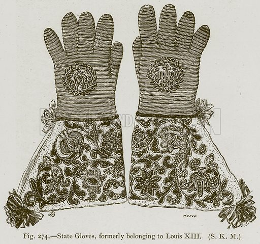 State Gloves, formerly belonging to Louis XIII. Illustration for Historic Ornament by James Ward (Chapman and Hall, 1897).