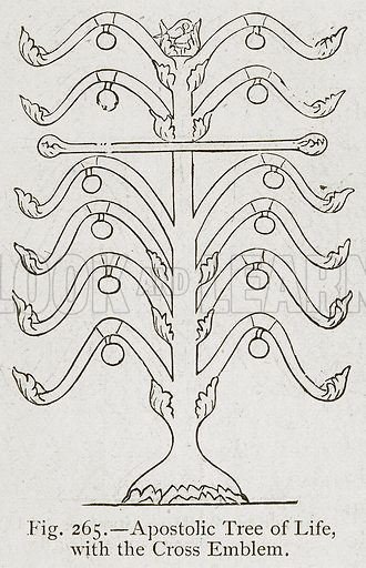 Apostolic Tree of Life, with the Cross Emblem. Illustration for Historic Ornament by James Ward (Chapman and Hall, 1897).