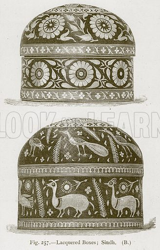 Lacquered Boxes; Sindh. Illustration for Historic Ornament by James Ward (Chapman and Hall, 1897).