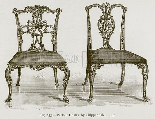 Parlour Chairs, by Chippendale. Illustration for Historic Ornament by James Ward (Chapman and Hall, 1897).