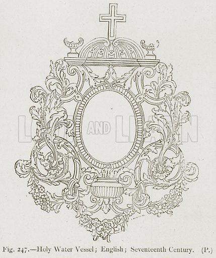Holy Water Vessel; English; Seventeenth Century. Illustration for Historic Ornament by James Ward (Chapman and Hall, 1897).