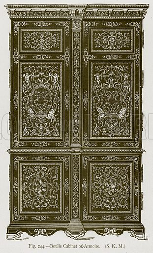 Boulle Cabinet or Armoire. Illustration for Historic Ornament by James Ward (Chapman and Hall, 1897).