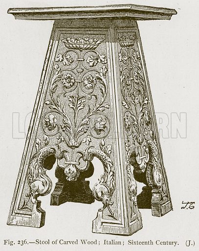 Stool of Carved Wood; Italian; Sixteenth Century. Illustration for Historic Ornament by James Ward (Chapman and Hall, 1897).