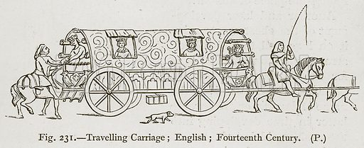 Travelling Carriage; English; Fourteenth Century. Illustration for Historic Ornament by James Ward (Chapman and Hall, 1897).