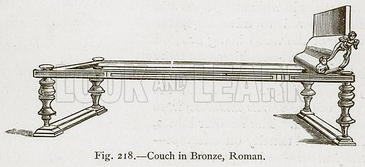 Couch in Bronze, Roman. Illustration for Historic Ornament by James Ward (Chapman and Hall, 1897).