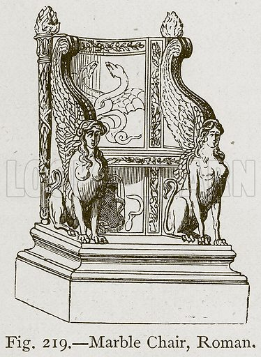 Marble Chair, Roman. Illustration for Historic Ornament by James Ward (Chapman and Hall, 1897).