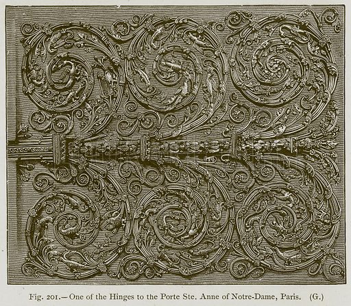 One of the Hinges to the Porte Ste. Anne of Notre-Dame, Paris. Illustration for Historic Ornament by James Ward (Chapman and Hall, 1897).