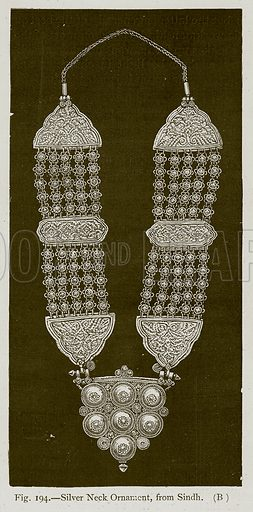Silver Neck Ornament, from Sindh. Illustration for Historic Ornament by James Ward (Chapman and Hall, 1897).