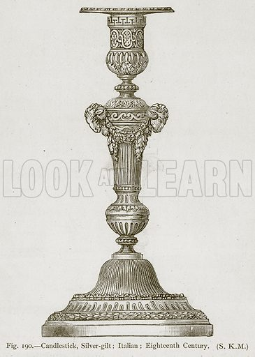 Candlestick, Silver-Gilt; Italian; Eighteenth Century. Illustration for Historic Ornament by James Ward (Chapman and Hall, 1897).