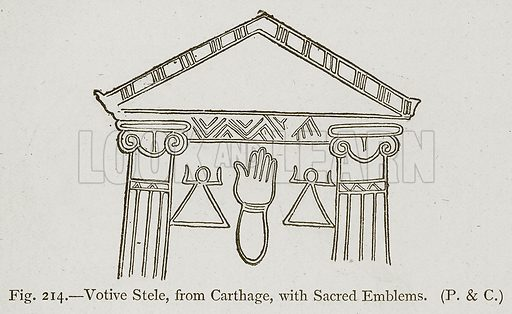 Votive Stele, from Carthage, with Sacred Emblems. Illustration for Historic Ornament by James Ward (Chapman and Hall, 1897).
