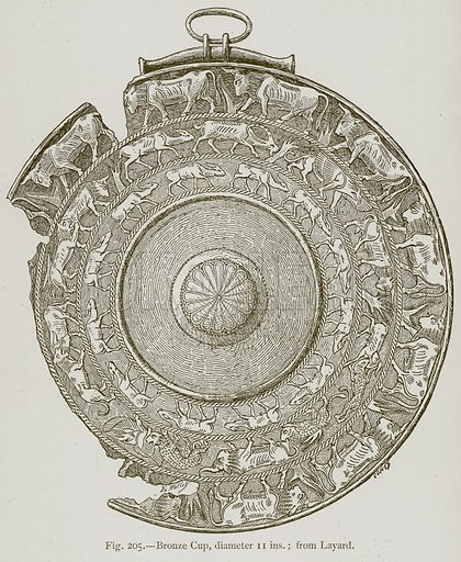 Bronze Cup, diameter 11 ins. from Layard. Illustration for Historic Ornament by James Ward (Chapman and Hall, 1897).